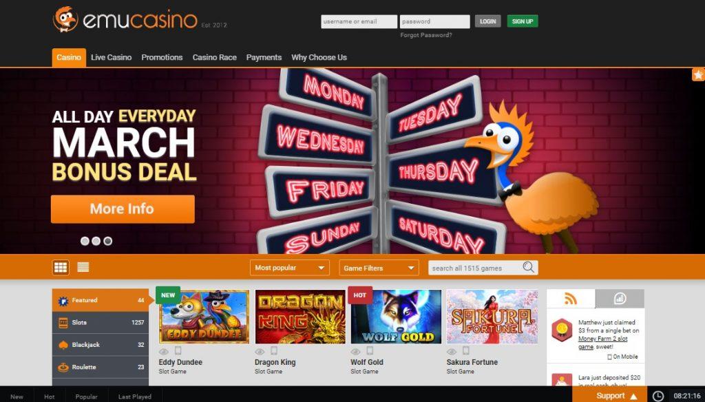 Emu casino no deposit bonus code 2017